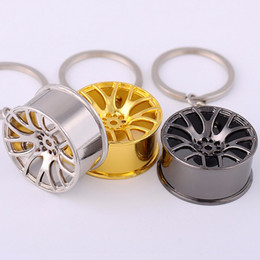 Wholesale Rims Keychain - New 2017 Key Chains High Quality Metal 3D Car Hub Keychain Bag Pendant Jewelry Cool Wheel Rim Keyring Holder