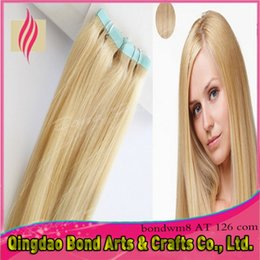 Wholesale Cheapest Indian Remy Hair Extensions - Cheapest indian remy tape human hair extensions! PU tape hair extensions 2.5g pc #613 blonde color extension hair tape