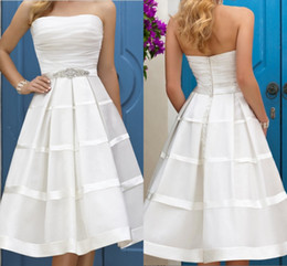 Wholesale Strapless Empire Waist Short Dress - 2017 Sexy Strapless A Line Short Wedding Dresses Tea Length Pleats Bach Wedding Gown Backless Empire Waist Wedding Bridal Party Gown