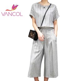 Wholesale Short Suits For Ladies - Vancol 2016 Elegant Slim Suit for Lady Office Clothes Wide Leg Pants Black Grey Striped Women Summer Two Piece Set Top and Pants