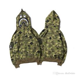 Wholesale Batwing Sleeve Hoodie - Autumn Men's Camouflage Shark Mouth Print Hoodies Sportswear Army Green Tracksuit Zipper Sweatshirts Fashion Hip-Hop Hoodie Lover'