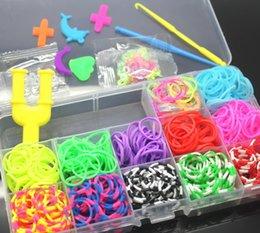 Wholesale Cheap Rubber Band Loom Kit - Super Cheap 1200pcs 12color Set Colorful Rubber Loom Bands Kit Kids BOX ! DIY Charm Bracelet