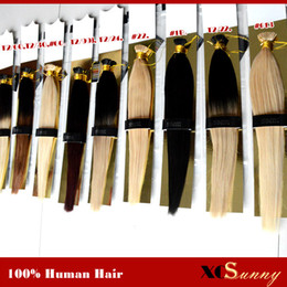 "Wholesale Black Keratin - XCSUNNY I Tip Fusion Hair Extensions 18"" 20"" Natural Hair Extensions Keratin 1g s 100g pc Stick Indian Remy Human Hair Extension"