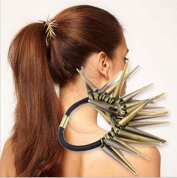 Wholesale Wholesale Metal Trinket - High Quality Fashion Punk Style Big Star Hair Trinket Metal Spike Rivet Hair Band Circle hair jewelry freeshipping
