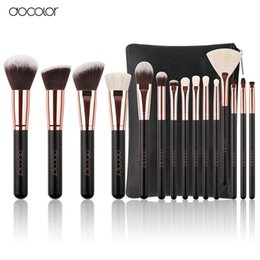 Canada Docolor 15pcs Maquillage Pinceau Cosmétique Doux Synthétique Cheveux et Nature Soies Professionnel Make Up Artiste Brosse Outil cheap makeup artist brush sets Offre