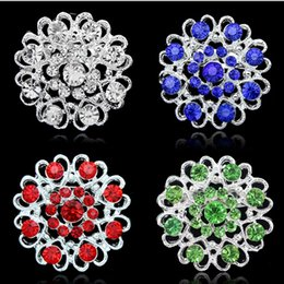 Wholesale Red Heart Pin Silver - Christmas Rhinestone brooches 6 colors love heart hollow crystal brooches silver plate pearl pins round hollow forever love