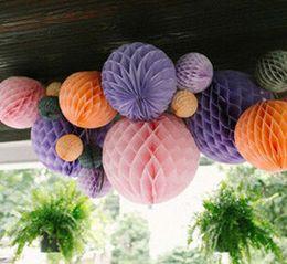Wholesale Purple Paper Lanterns - Wholesale- W 20cm=8 inch Tissue Paper Flowers balls pom Poms honeycomb lantern Party Decor Craft Wedding Decoration multi whcn+