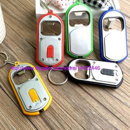 Wholesale Color Led Keychain Lights - Fast DHL Free shipping 100pcs 3 in 1 Beer Can Bottle Opener LED Light Lamp Key Chain Key Ring Keychain Mixed colors