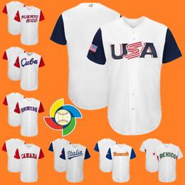 Wholesale Baseball Canada - 2017 WBC Jersey America USA Canada Cuba Dominicana Ltalia Mexico Puerto Rico Venesuela Size 40-56 Custom World Baseball Classic jersey