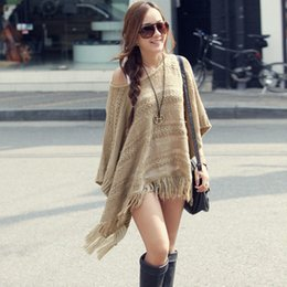 Wholesale Knit Fringed - Woman Korean Sweater Fashion Solid Color Stencil 2015 Winter Women Polyester Hem Fringed Bat Sleeve Ladies Pullover