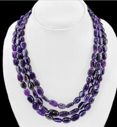 Wholesale Amethyst Grading - 13x18mm GRADE SELLIN NATURAL 3 LINE BOLIVIAN AMETHYST BEADS NECKLACE