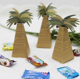 Wholesale Brown Candy Papers - wholesale 100pcs Creative Brown Palm trees Wedding Favor Candy Boxes Wedding Package Gift Box baby shower favor gift box
