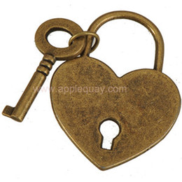 Wholesale Metal Charms Pendant Heart Lock - keys lock necklaces pendants charms diy bracelets heart flat smooth antique bronze metal for lovers clothes bags 38mm jewelry findings 50pcs