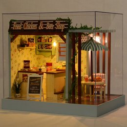 Wholesale Wooden Furniture For Children - Wholesale- Cute Room Lover Gift Diy Doll House Puppenhaus Brithday Miniature Furniture House Toys for Children Wooden House Toys Handmade