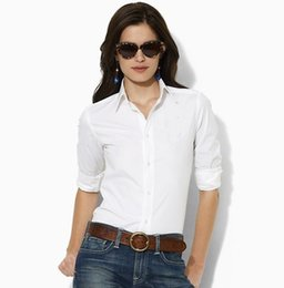 Wholesale Camisa Fashion Women - Women Fashion Brand Longsleeve Shirt 2017 High quality Lady Full cotton slim outwear camisa Women turn down collar shirts 7051