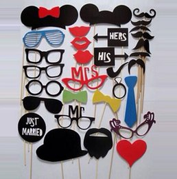 Wholesale Mask Sticks - Party supplies 1Set 31pcs DIY Party Masks Photo Booth Props Mustache On A Stick Wedding Party Favor