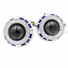 2019 lente h1 Angel Eyes luces del auto Lente Faro xenon hid lente del proyector H4 H7 h1 2,8 pulgadas ojo de ángel BI-Xenon HID Kit de proyector rojo azul blanco faro lente h1 baratos