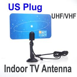 Wholesale Digital Tv Receiver Antenna - Digital Indoor TV Antenna HDTV DTV HD VHF UHF Flat Design High Gain US Plug New Arrival TV Antenna Receiver