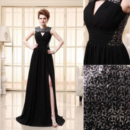 Wholesale Empire Waist Short Prom - 2015 Black Graceful Ruched Chiffon Evening Gowns Sequin Sexy Empire Waist Zipper Sleeveless Floor length Party Formal Dresses free shipping