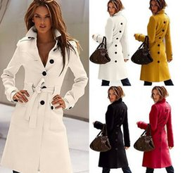 Wholesale Trench Outerwear - New Autumn Winter Wool Coat Cashmere Middle Length Women's Outerwear Coats Slim Sexy Trench Coats Large Size Ladies' Cloth Outwear Overcoat