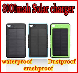 Wholesale Universal Solar Battery Charger Usb - Universal 8000mAh Solar Charger Solar Panel Battery Chargers 8000 mah portable USB power bank Waterproof crashproof Dustproof for cell phone