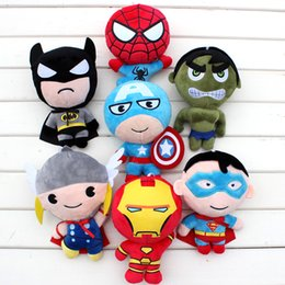 Wholesale Anime Batman Toy - Free shipping EMS Avengers plush toy Captain America Thor Hulk Hawk Eye superman Spider-man Iron Man Batman Stuffed dolls soft toys