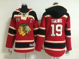 Wholesale Sportswear For Boys - Blackhawks #19 Jonathan Toews Black Youth Hockey Hoodies High Quality Cheap Kids Hockey Sweaters Warm Winter Outdoor Sportswear for Childs