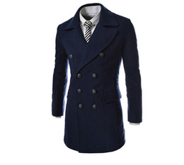 Wholesale Black Military Wool Trench Coat - Fall-2015 New Winter mens Military Middle trench pea coat Men's wool Coats Double Breasted men trench coat freen shipping