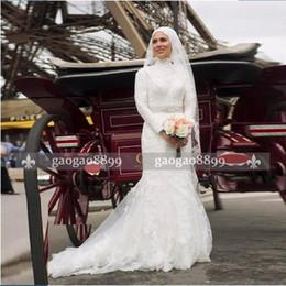 2019 свадебные свадебные платья кружевные мусульманские 2019 Мусульманское одеяние де Mariage Винтажные свадебные платья Свадебные платья с длинными рукавами Кружевные ленты Аппликации из бисера vestidos de novia дешево свадебные свадебные платья кружевные мусульманские