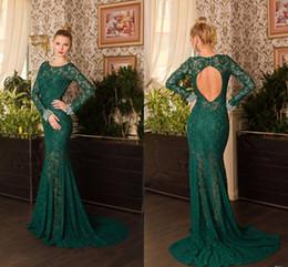 Wholesale open back short chiffon dress - New Long Sleeve Green Lace Mermaid Evening Dresses With Open Back Court Floor Length Vesitods De Festa 2015 Prom Dresses Celebrity Dresses