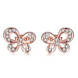 Wholesale Diamond Bow Studs - Hi-Q Rose Gold Earrings Czech Diamond Butterfly Bow Charms Stud Rhinestone Brand Pendant Earrings Jewelry for Women Girls