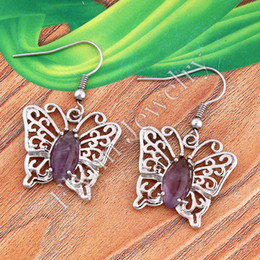 Wholesale Natural Jade Butterfly - Charm Horse Eye Malay Jade Amethyst etc Natural Bead Butterfly Drop Earrings Accessories Silver Plated Fashion Jewelry 10Pairs