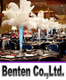 Wholesale 16 Inch Feathers - Per lot 14-16 Inch White Ostrich Feather Plume Craft Supplies Wedding Party Table Centerpieces Decoration Free Shipping LLFA3155F