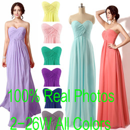 Wholesale Mint Sweetheart Dress - In Stock Sweetheart Chiffon Maid of Honor Dresses A line Coral Lilac Red Pink Mint Royal Blue Blush Bridesmaid Party Gowns 2016 Real Image