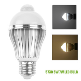 Wholesale Motion Globe - SMD 5730 E27 5W 7W PIR Auto Motion Sensor Detection Dimmable LED Light Lamp Bulb Cool White   Warm White