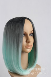 Wholesale Wholesale Sexy Wigs - Sexy fashion short bobo green gradient wig synthetic lace front wig Synthetic Wigs for Black Women