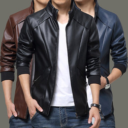 Wholesale Stand Colar - New men's Jackets PU leather Jackets Slim Fit Stand Colar motorcycle Jackets mens clothes Outerwear free shipping