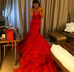 Wholesale Ivory Beaded Empire Organza - New Sexy Deep V-neck Red Organza Mermaid Prom Dresses 2015 With Beaded Sashes Robe De Soiree Long Train Evening Gown