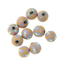 Wholesale Fimo Beads Round - Round Shape 12mm Fimo Polymer Clay Ceramic Spacer Loose Beads flower beads 2mm hole jewelry making material