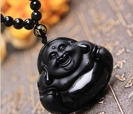 Wholesale Obsidian Buddha Pendant - AAAA Natural Frosted Obsidian pot-bellied laughing Buddha Pendant Happy Buddha Pendant Necklaces