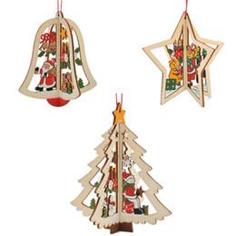 Wholesale Pendant Mounts Settings - 3pcs Set Wooden Jingle Bell Five-Pointed Star Christmas Tree Pendant Decoration Ornaments For Festival Party Hanging Xmas Tree Decor