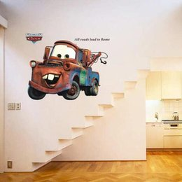 Wholesale Sticker Paper For Cars - Cars Wall Mural Stickers Decal Big Master Kids Room Nursery Art Decor free shipping in stock