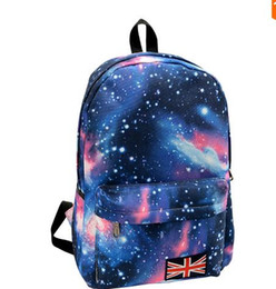 Wholesale British Flag Bags - Fashion School Bags For Teenagers Stars Universe Space Printing Backpack School Book Backpacks British Flag Bag Free Shipping