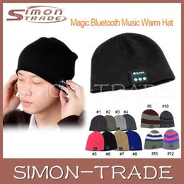 Wholesale Woven Winter Beanies Wholesale - Bluetooth music Soft cap Beanie warm woven fabric hat with wireless micro Speaker Microphone Stereo Headphone Headset for christmas holiday