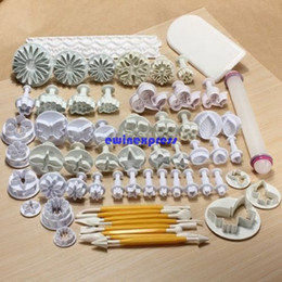 Wholesale Decorating Cutters - 68pcs set Cake Decorating tools set Sugarcraft Fondant Cookies Cake Cutters Plunger Stamp + Modeling + smoother + border Decorating tools