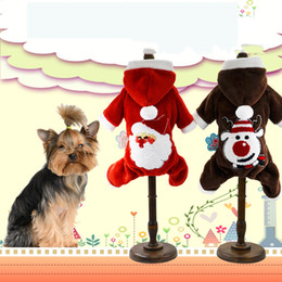Wholesale Warm Santa Hat - Pet Dog Cat Christmas Clothes Puppy Hoodie Coat Winter Warm Outfit Apparel Dogs Santa Claus Clothings