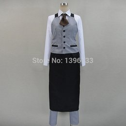 Wholesale Costume Shop Free Shipping - Free Shipping Tokyo Ghoul Cosplay Kaneki Ken Cosplay Costume Coffee Shop Uniform Halloween Costume for Men Custom Size
