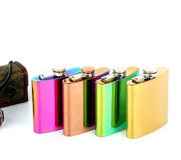 Wholesale Wedding Gift Flask - 6oz Stainless Steel Jug Portable Hip Flask Rainbow Colorful whiskey flagon Gradient UV plating Gold Wedding Gift
