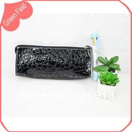 Wholesale Wholesale Zip Pencil Bags - Free Shipping Black   Red Pencil Case PVC Coloured Zip Pocket Pencil Bag Pouch With Imprint Fashion Case