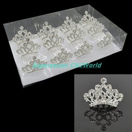 Wholesale Crown Hair For Girls - 12pcs lot Diamond Princess Crown Comb Crystal Rhinestone Tiaras Crown Clip The Hair Accessories Hairpin For Bridal Girls&Kids